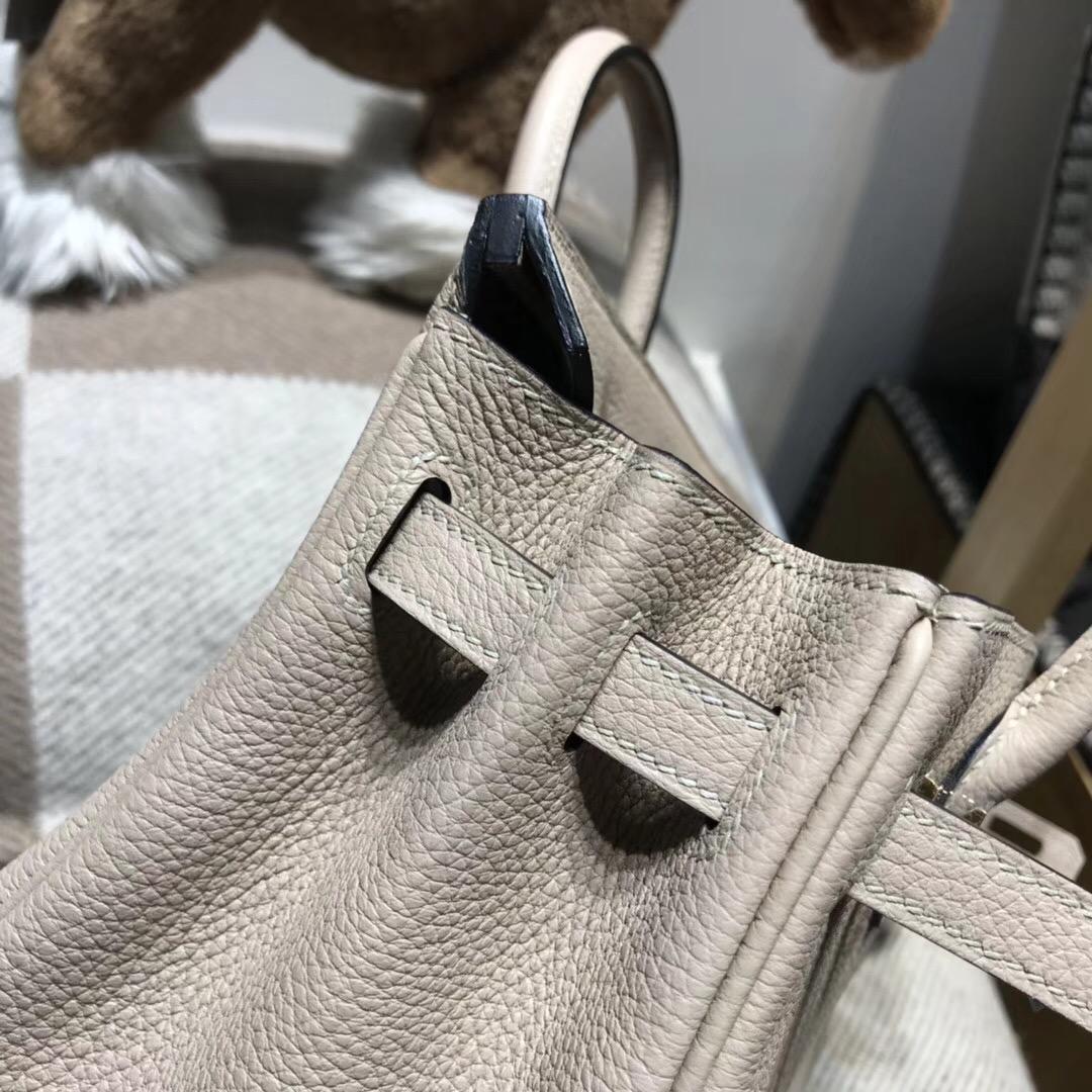 Hermes Brikin包袋 25cm togo 斑鳩灰CK81 Gris Tourterelle 優雅顏色 銀扣