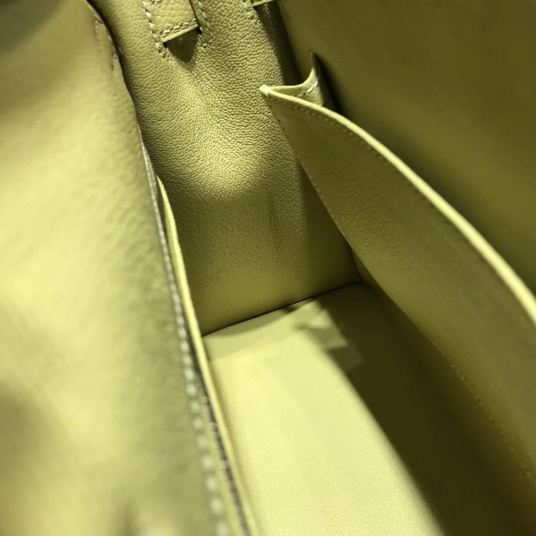 Hermes Kelly包 25cm Epsom 1Z Jaune Poussin小雞黃外縫銀扣