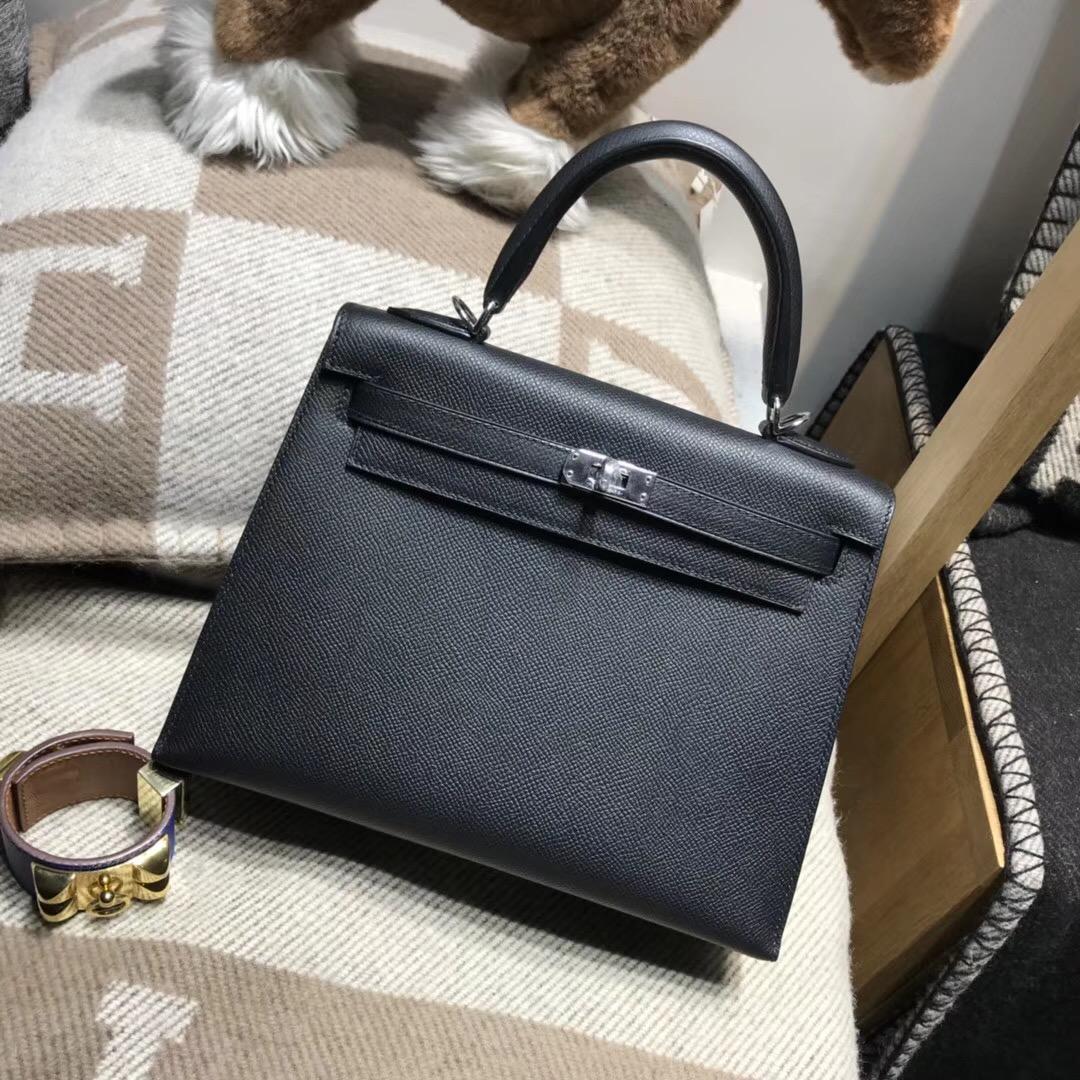 Hermes Kelly 25cm Epsom Nior CK89 經典百搭黑色银扣