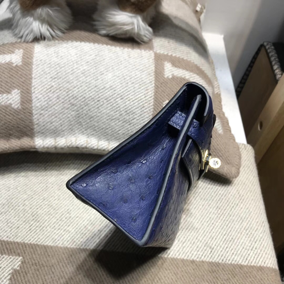 Hermes凱莉包手拿包 mini kelly 22cm 鴕鳥寶石藍 金扣金屬宴會手包