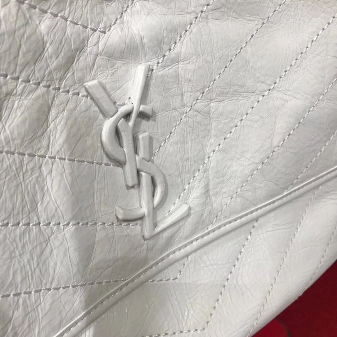 YSL Niki bags large niki chain bag in crinkled and quilted white leather