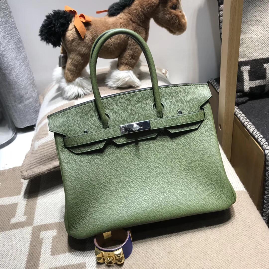 Hermes愛馬仕鉑金包 Birkin 30cm V6 Canopeec 叢林綠最綠色的壹個顏色
