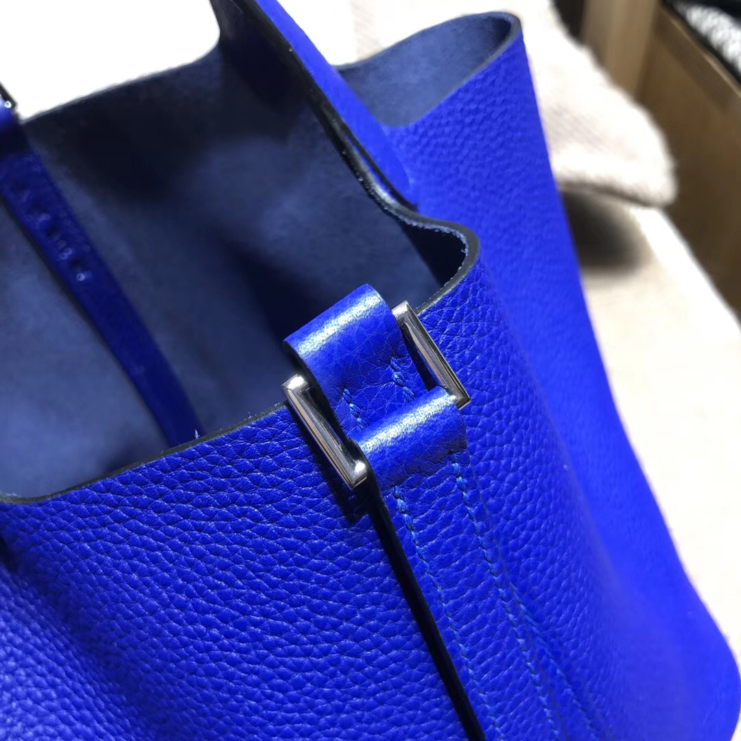 Hermes 鎖頭包Picotin Lock  18cm 菜篮子 7T Blue Electric电光蓝