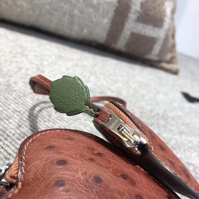 Hermes birkin kelly包袋  古銅色南非鴕鳥皮掛飾 零錢包草莓形狀掛件