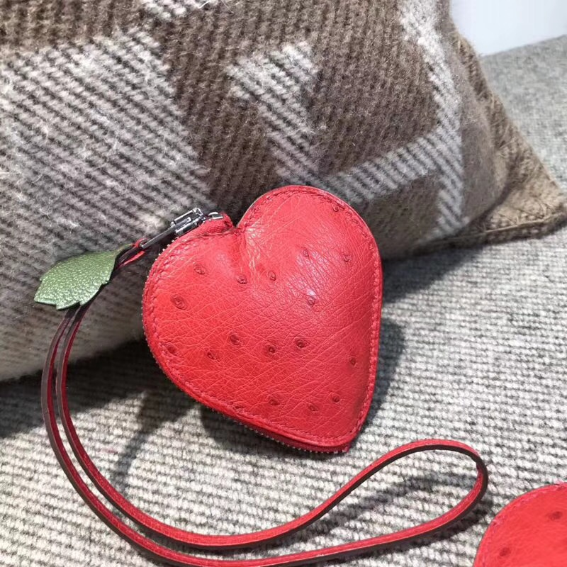 Hermes birkin kelly包 掛飾 國旗紅色南非鴕鳥皮 零錢包 草莓形狀掛件