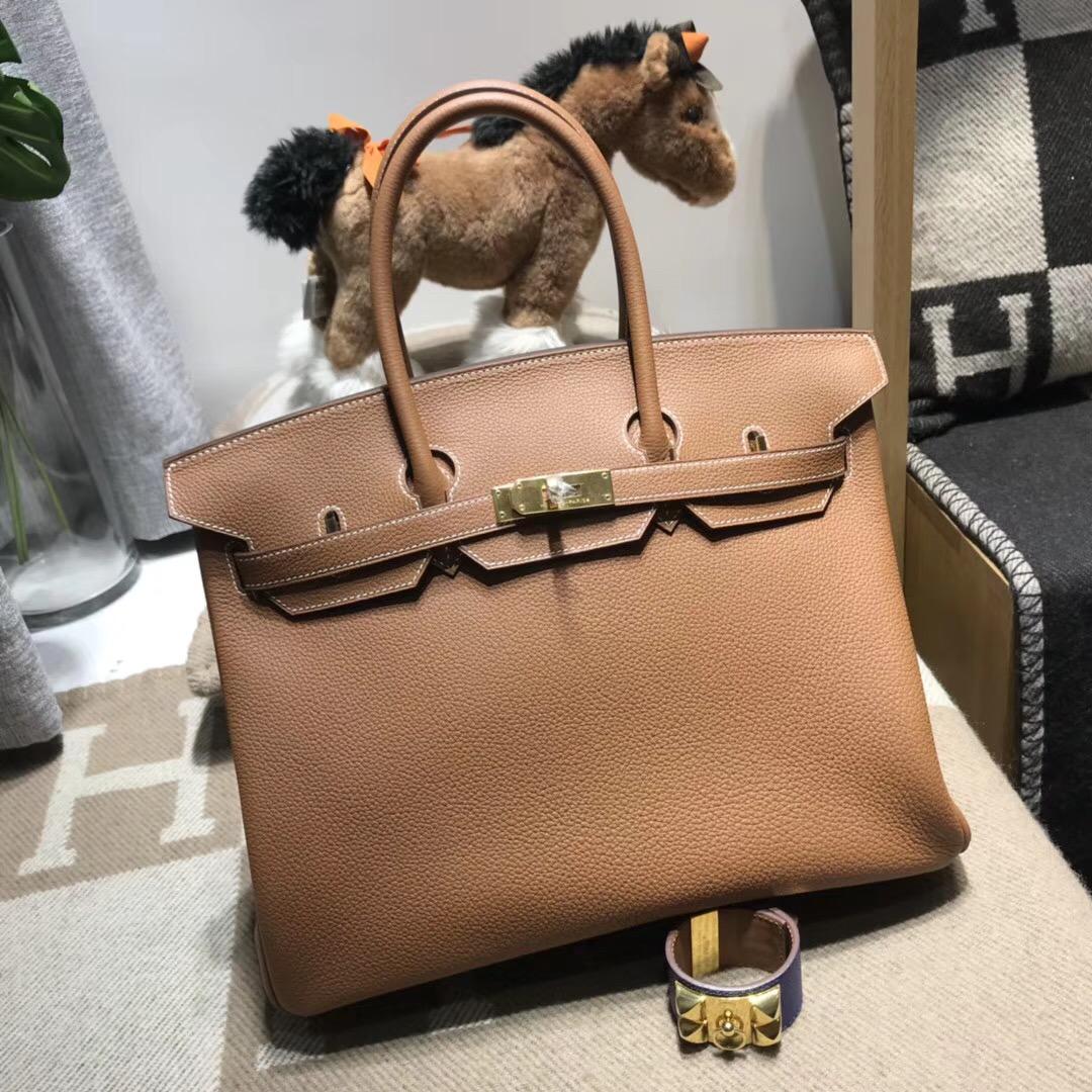 Hermes鉑金包Birkin 35cm Togo CK37 Gold 金棕色 金扣A刻歐美人氣色