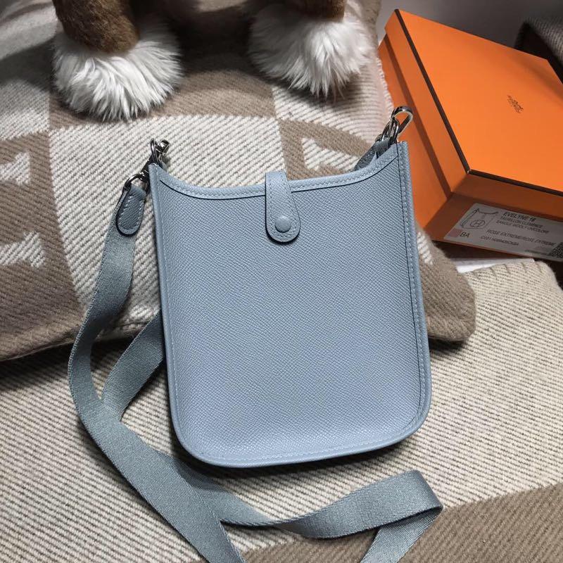 愛馬仕伊芙琳 Hermes Eveylne Mini Epsom 8U Blue Glacierw 冰川藍