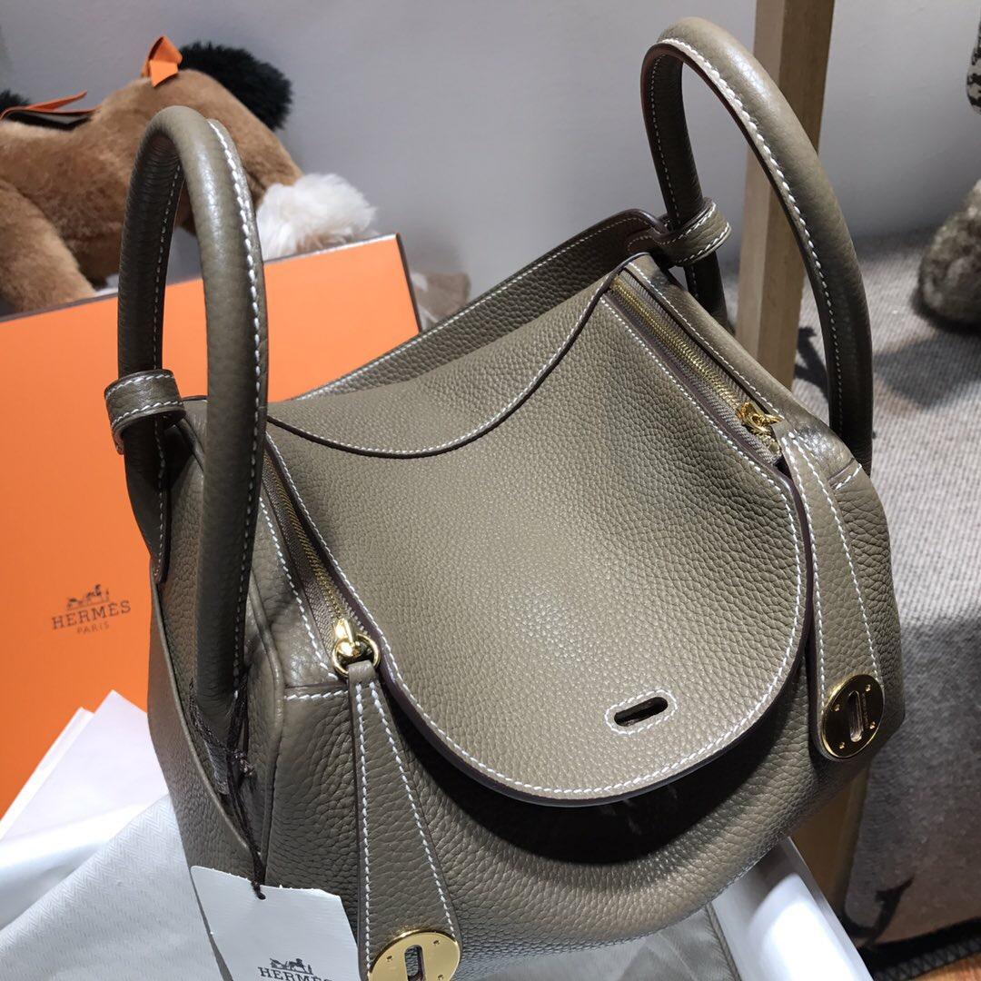 爱马仕家族中最优雅的包袋Hermes Lindy 26 Togo CK18 Etoupe大象灰金扣