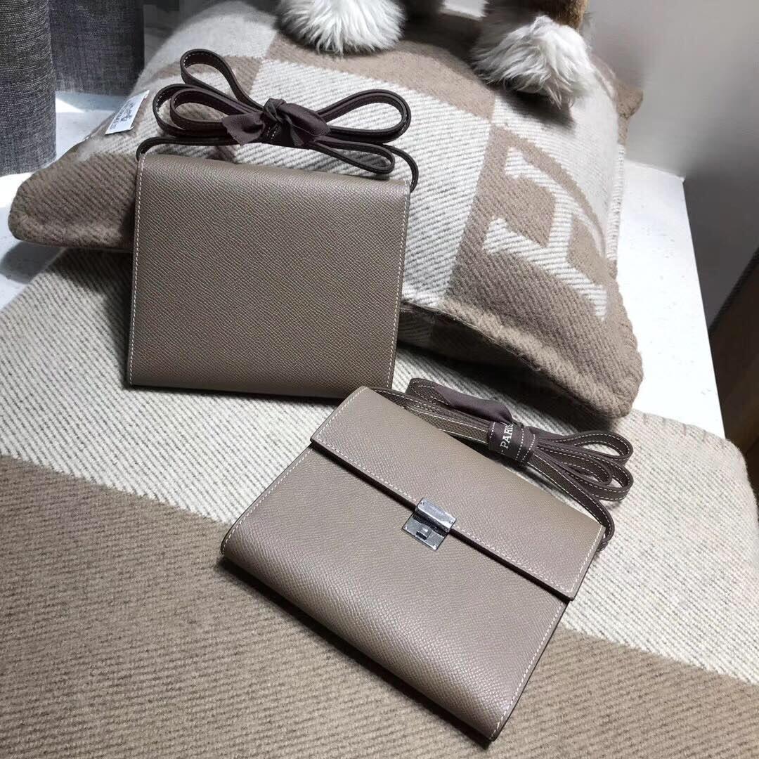 Hermes 新款18年最新clic Epsom CK18 Etoupe 大象灰 银扣