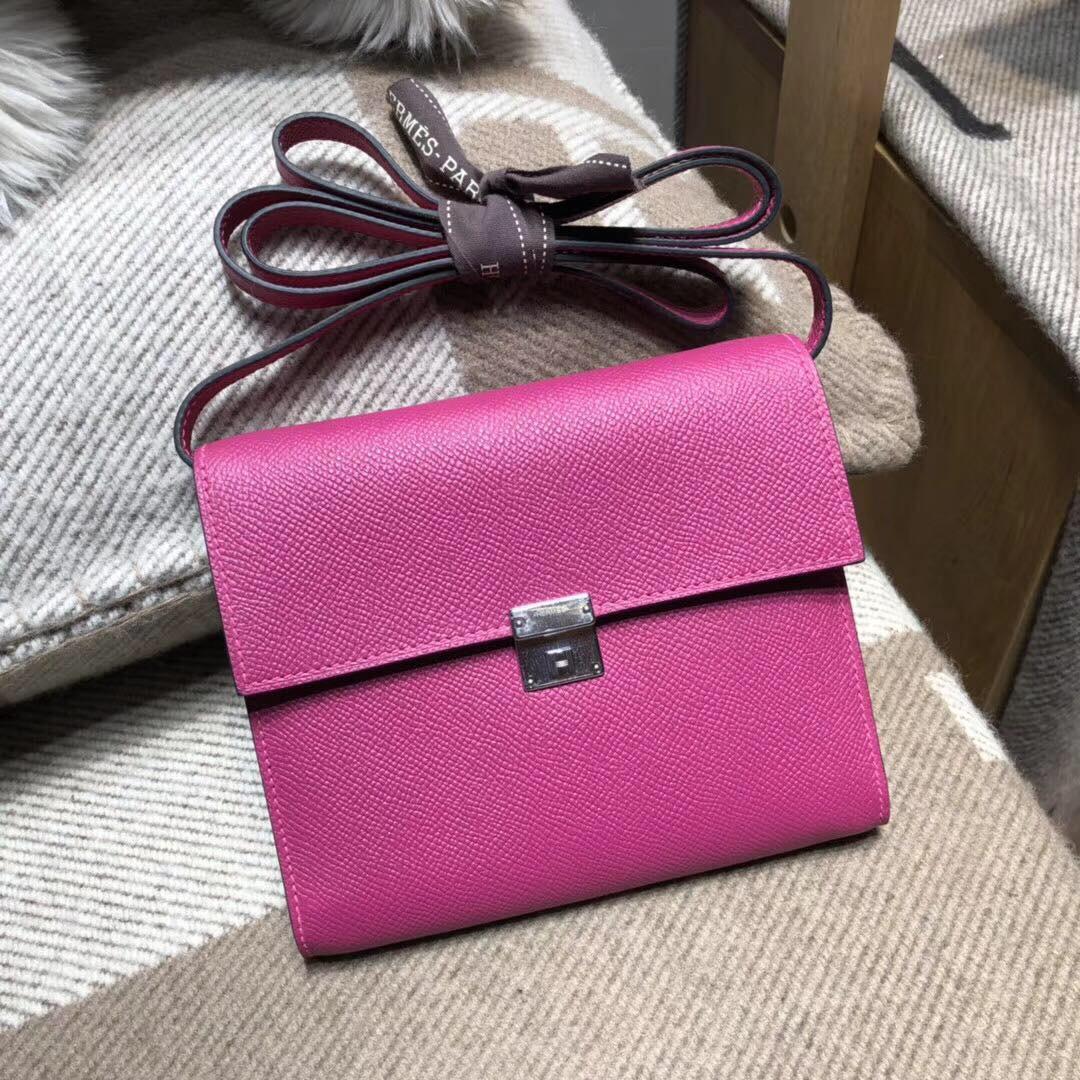 Hermes Clic Epsom L3 Rose Pourper 粉紫色 银扣