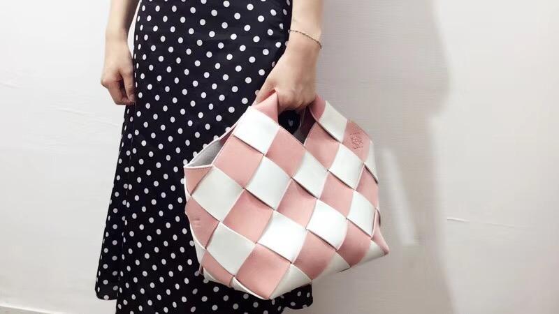 loewe Woven Basket Gingham Bag Soft Pink/White
