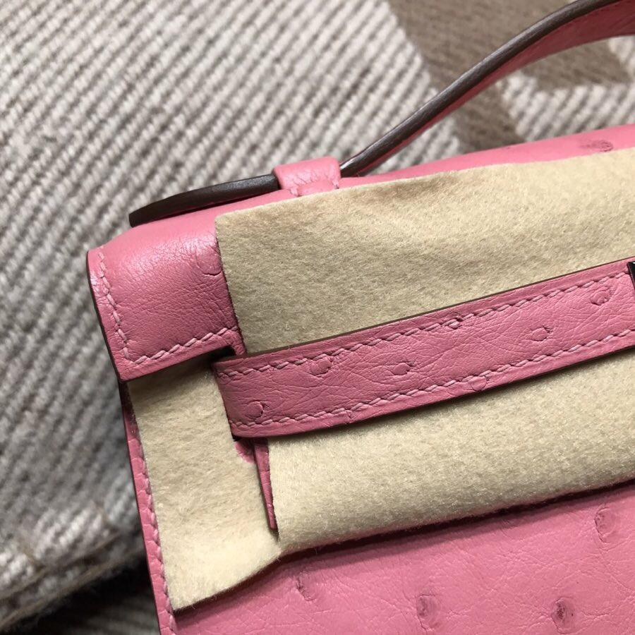 愛馬仕凯莉Hermes Mini kelly 鴕鳥皮 Ostrich leather 1Q 奶昔粉 銀扣金屬