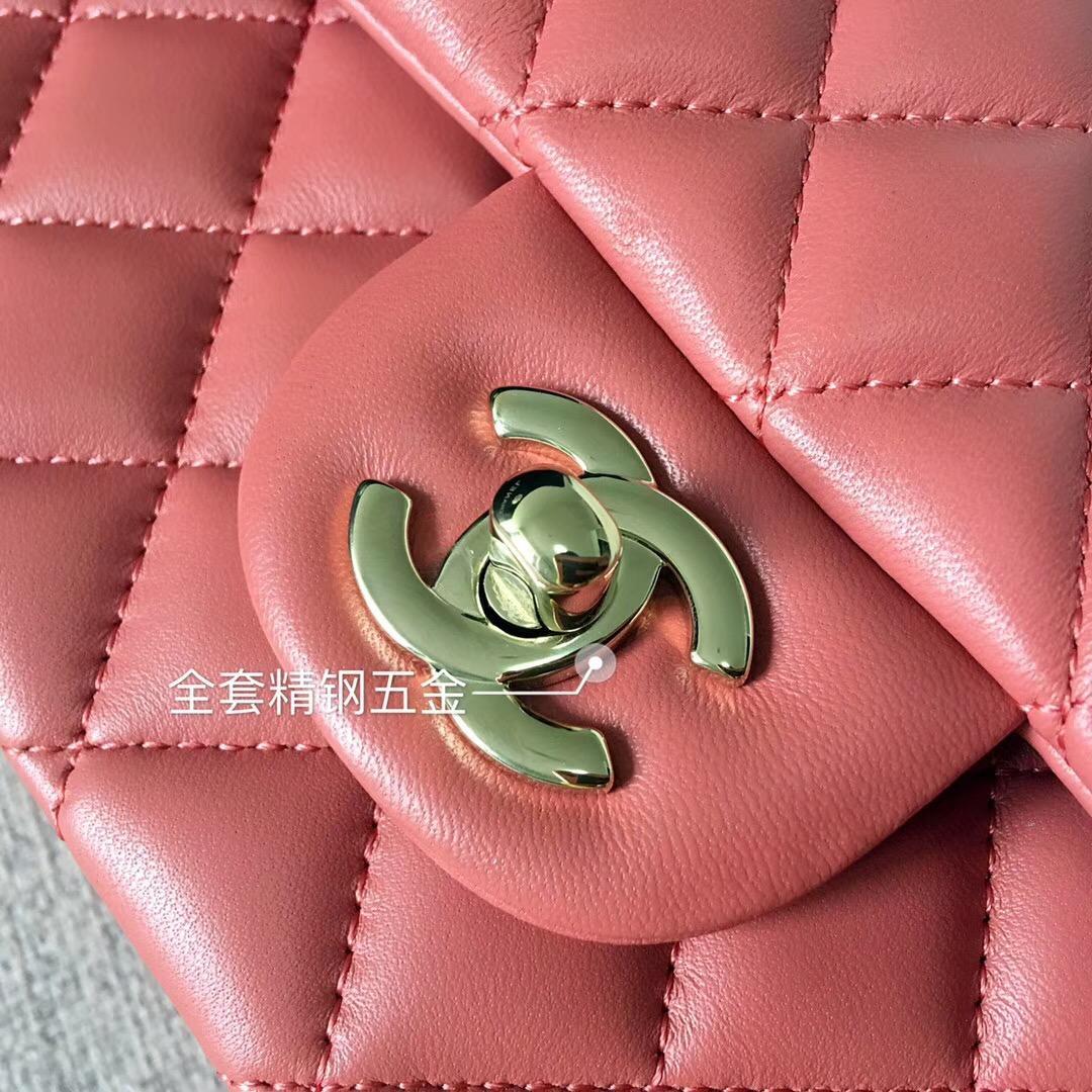 小香Classic Flap Bag菱格鏈條經典口蓋包 棕红色小羊皮 金色金屬