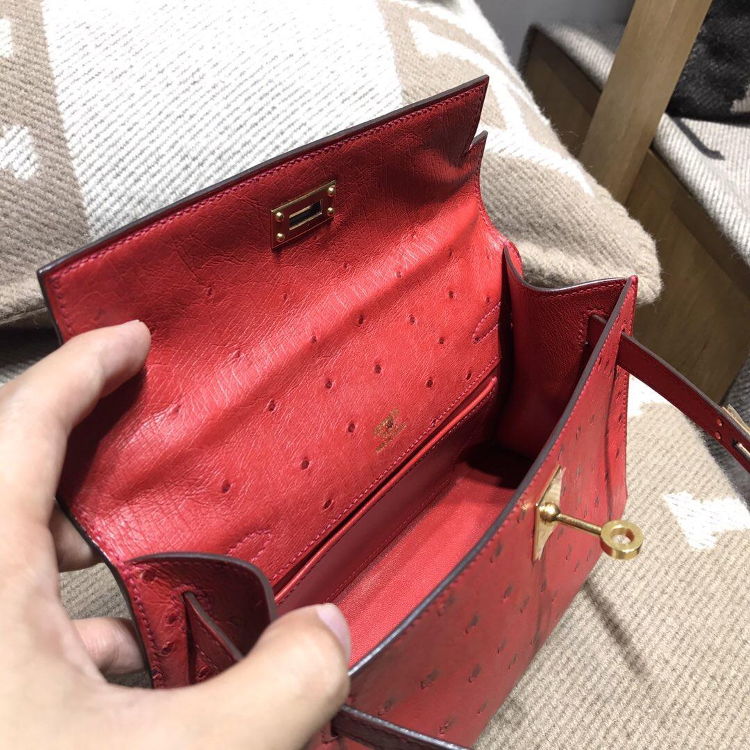 愛馬仕凱莉 Hermes Mini kelly 鴕鳥皮 Ostrich leather Q5國旗金扣