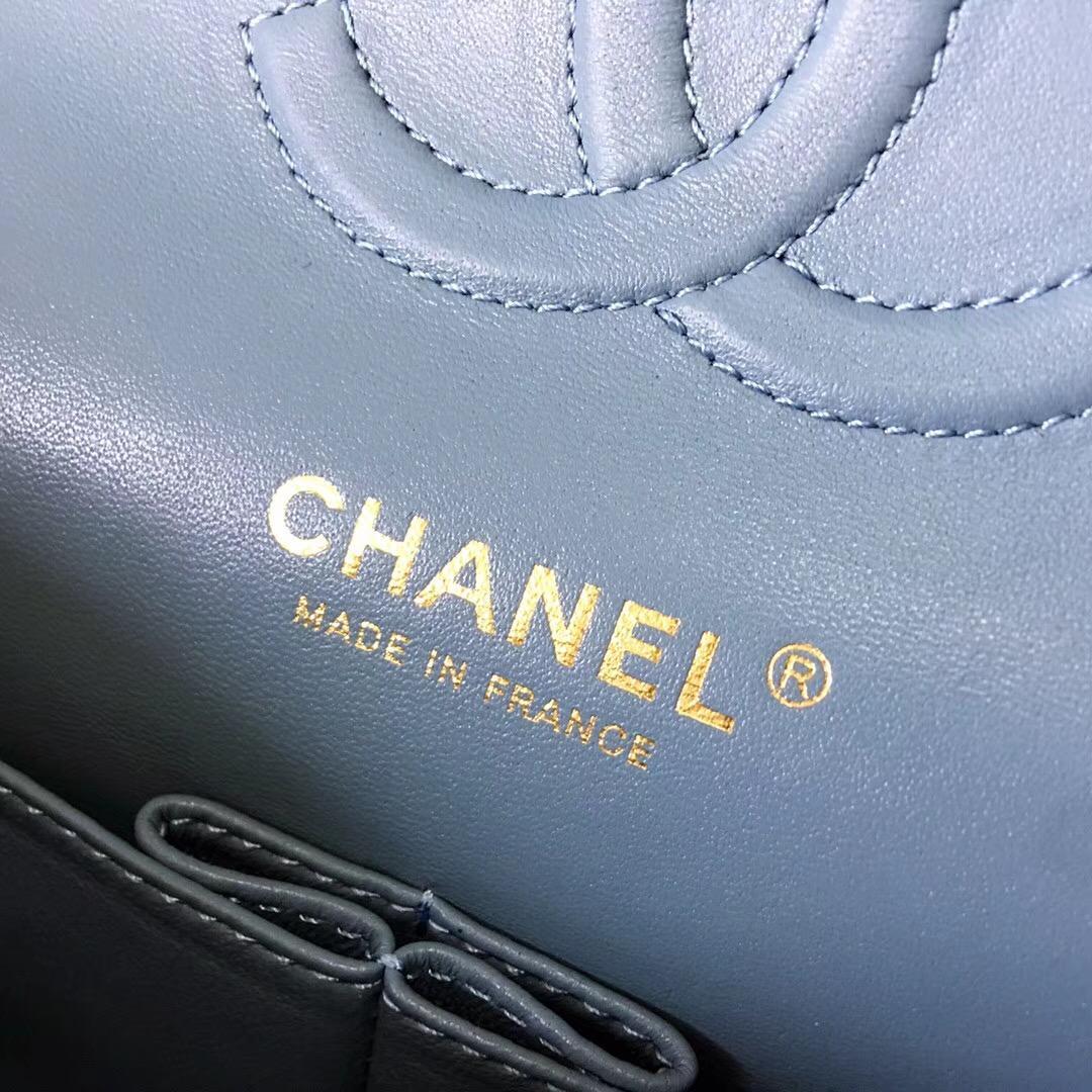 小香Classic Flap Bag 菱格鏈條經典口蓋包 霧霾藍色小羊皮 金色金屬
