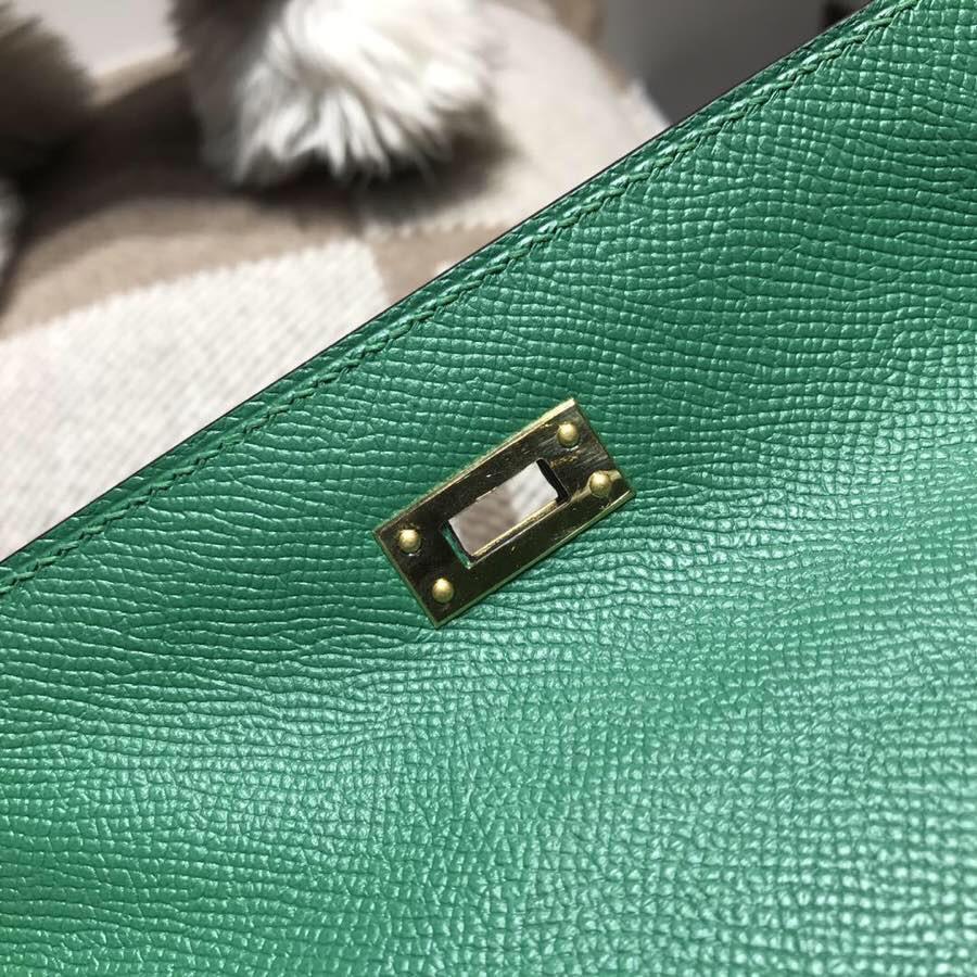 愛馬仕凱莉包 Hermes Mini kelly Epsom U4絲絨綠 超美可愛綠色金扣