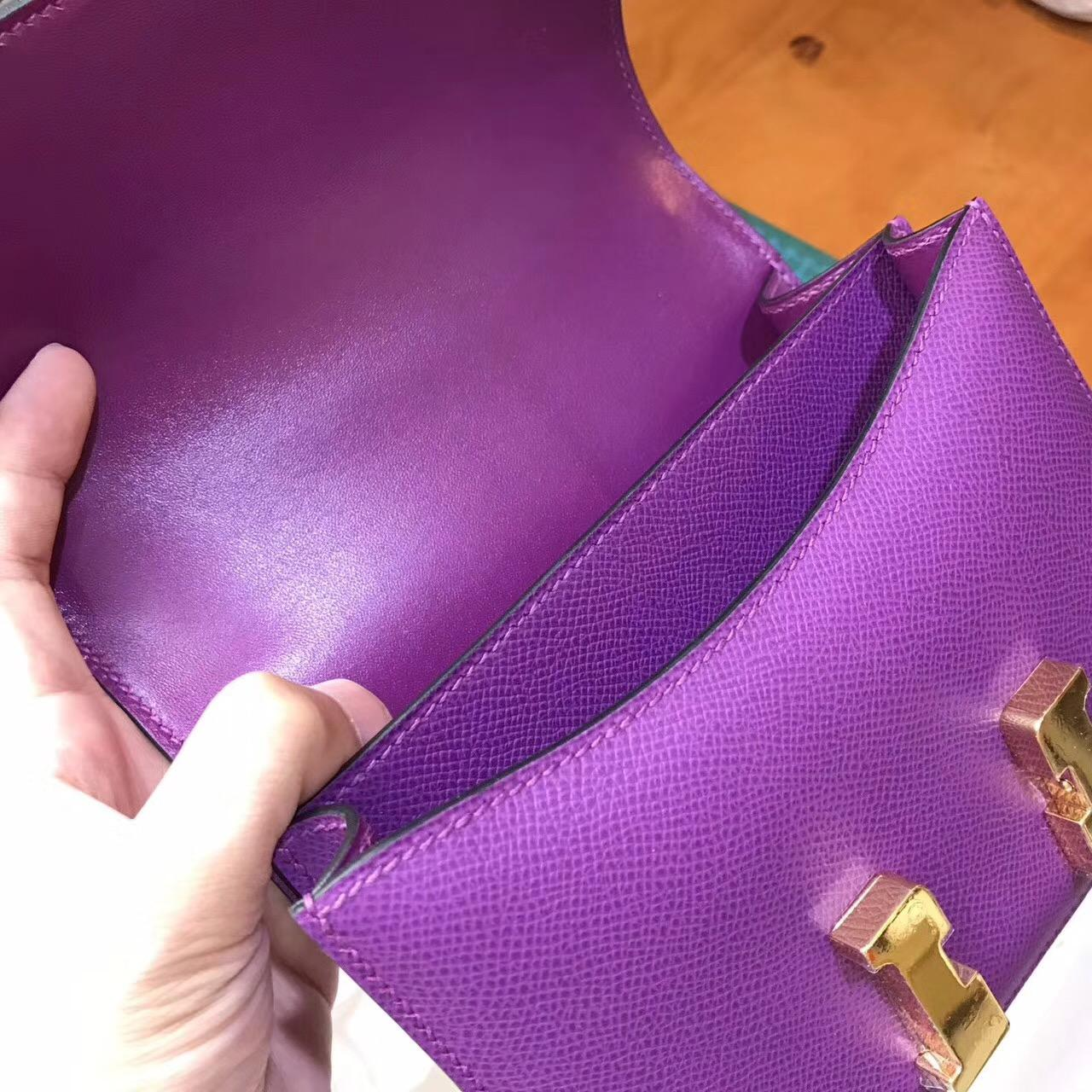 Hermes康斯坦斯包Constance 18(19)Epsom P9海葵紫Anemone PHW金扣