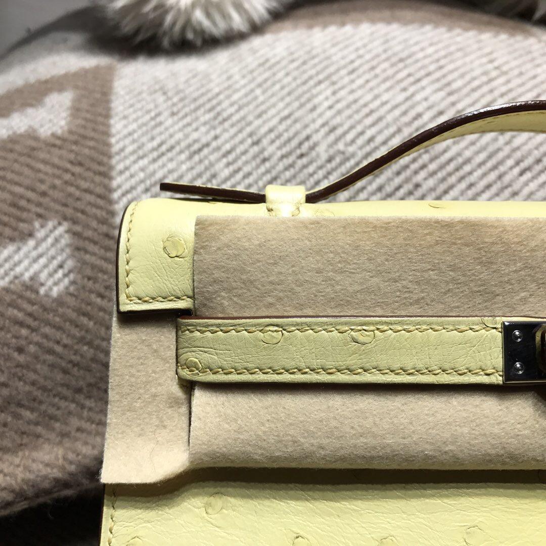 愛馬仕凱莉 Hermes Mini kelly 鴕鳥皮 Ostrich leather 1Z小雞黃銀扣