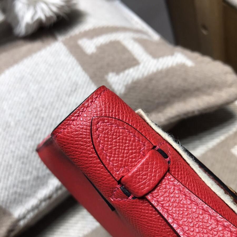 愛馬仕凱莉包Hermes Mini kelly Epsom Q5國旗紅 最受歡迎的紅色金扣