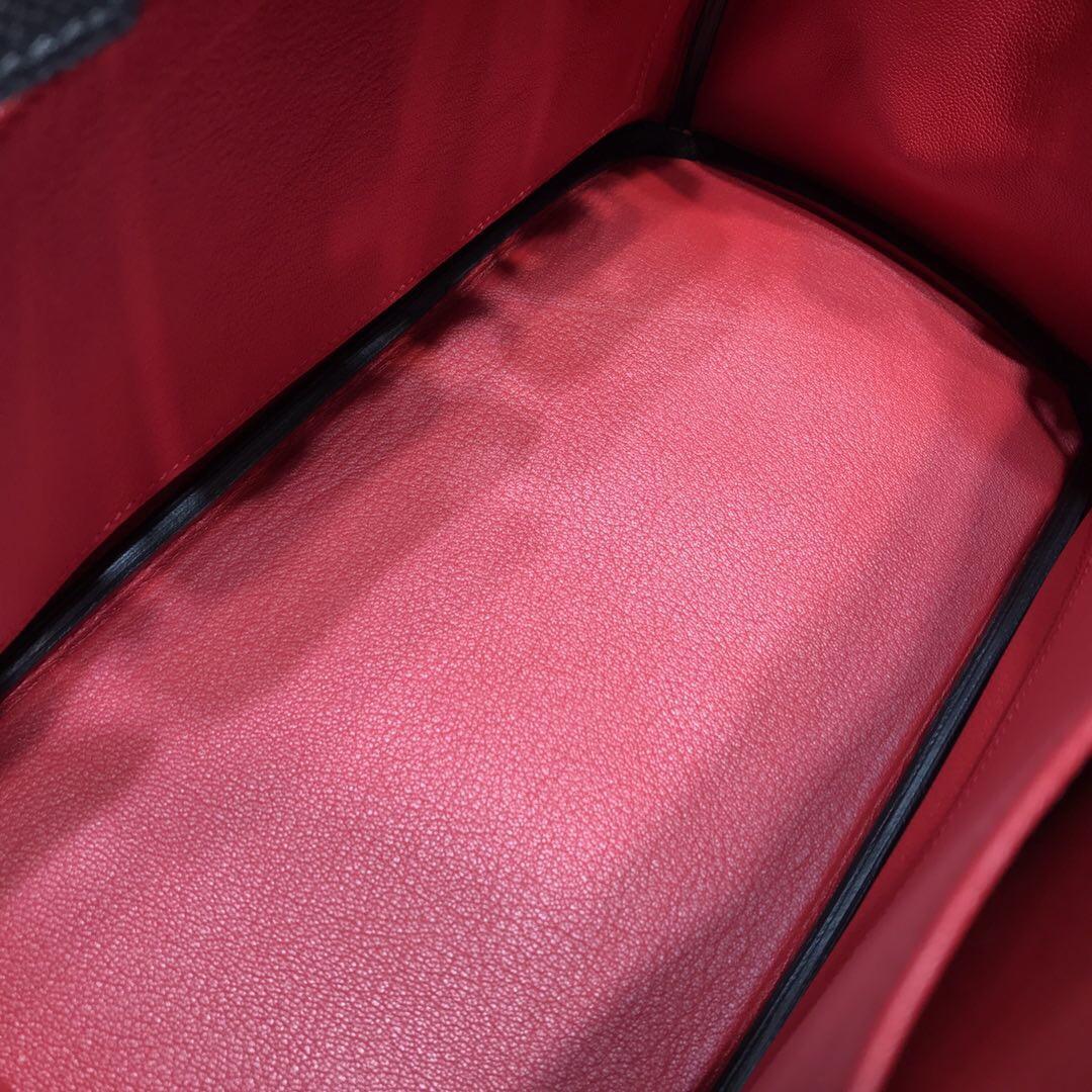 Hermes鉑金包Brikin 30 限量款ghillies 蕾丝系列EpsomCK89黑色/内Q5国旗红