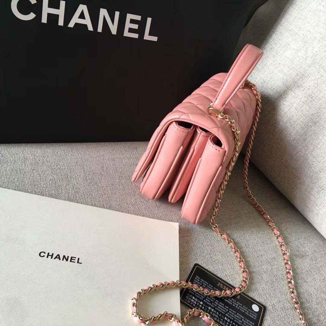 小香2018新款三層風琴包粉色 小羊皮 包小但感能裝