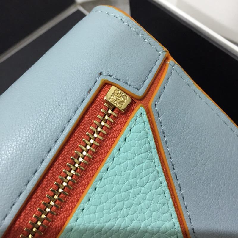 Loewe Puzzle Continental Wallet Aqua Multitone小牛皮大號錢包