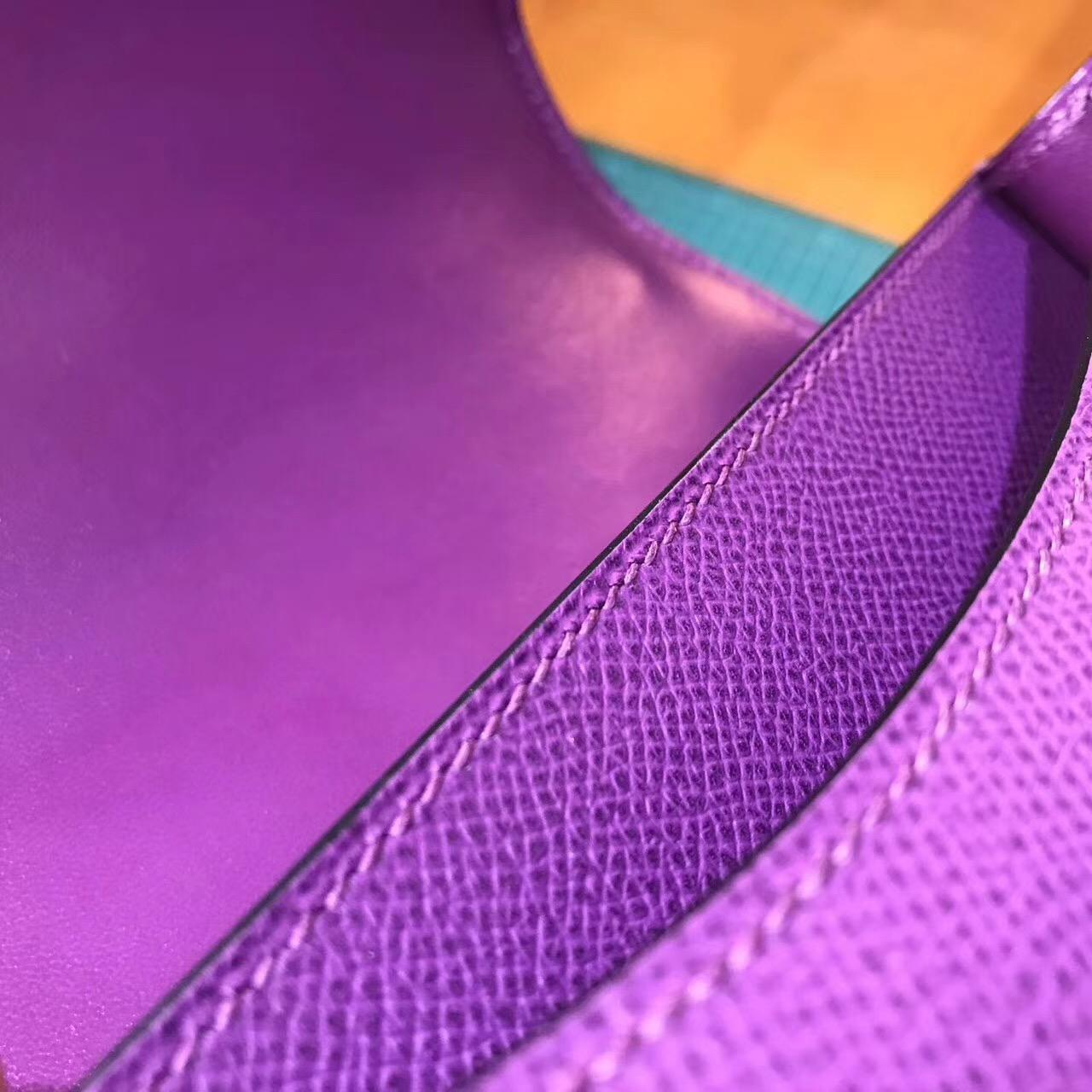 Hermes康斯坦斯包 Constance 18(19)Epsom P9海葵紫 PHW 最美紫色銀扣金屬