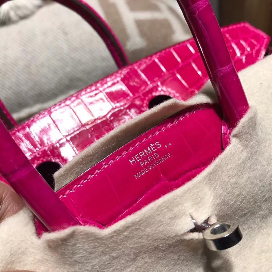 愛馬仕鉑金包 Hermes Brikin 25 光面鱷魚皮革 E5 Rose Tyrien糖果粉銀扣