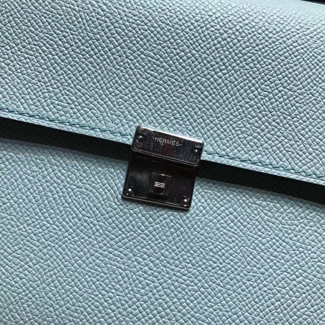 Hermes Clic epsom 微风蓝 银扣 很浅的蓝色 比马卡龙蓝
