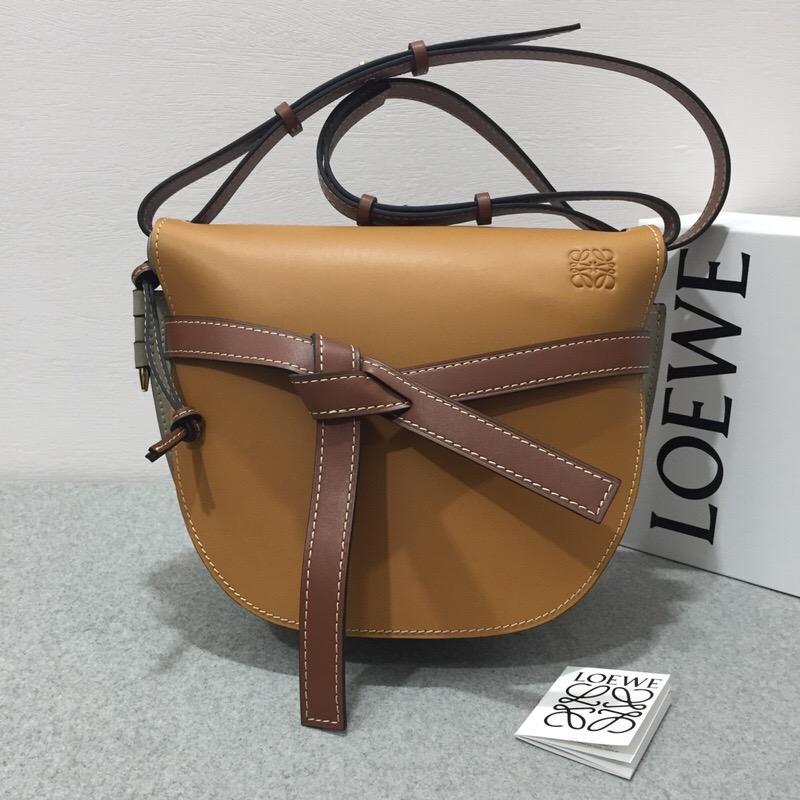 羅意威包包 loewe Gate Bag Amber/Light Grey/Rust Colour馬鞍包