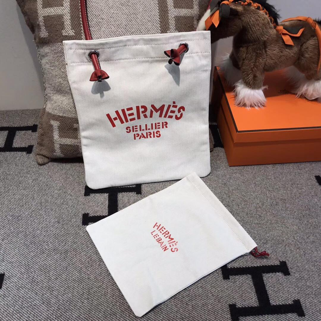 愛馬仕Hermes alina bag 帆布購物袋 網紅包