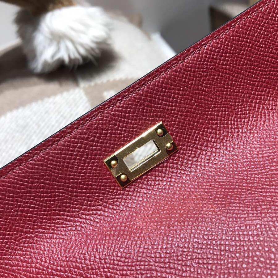 愛馬仕迷妳凱莉包 Hermes Mini kelly Epsom K1石榴紅非常好看的紅色