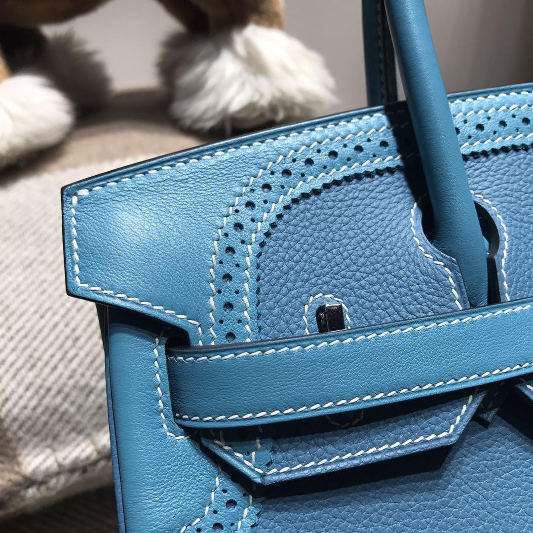 Hermes Brikin 30 限量款ghillies 蕾丝系列 Swift牛皮 拼TOGO皮 牛仔蓝ck75