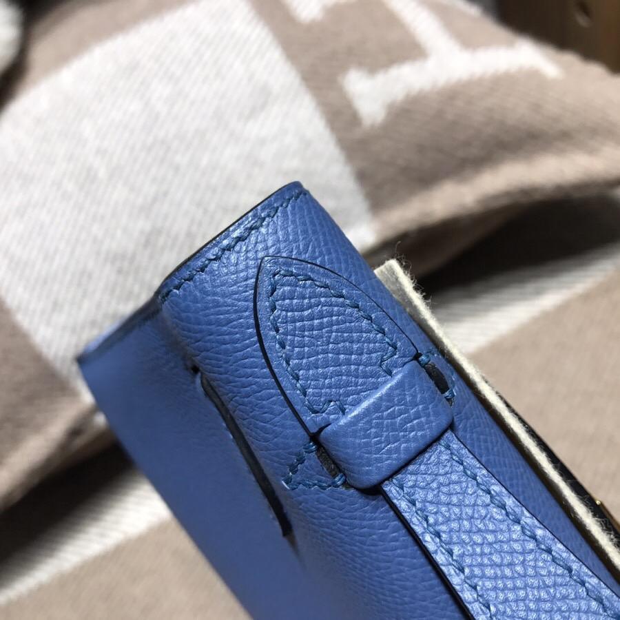 愛馬仕迷妳凱莉包 Hermes Mini kelly Epsom R2 瑪瑙藍 藍中帶點灰調金扣