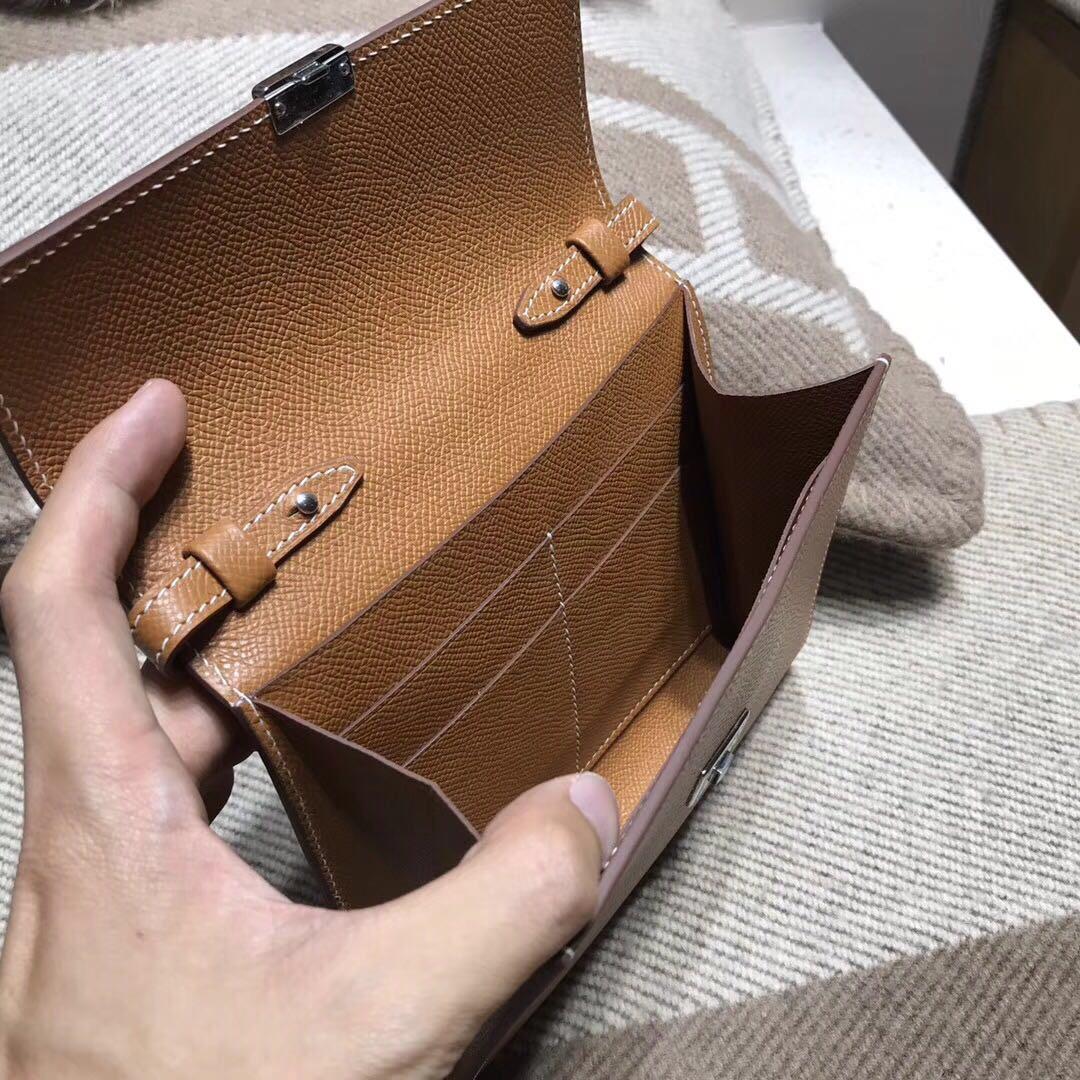 Hermes Clic 背包最新款 epsom CK37 Glod 金棕色 银扣
