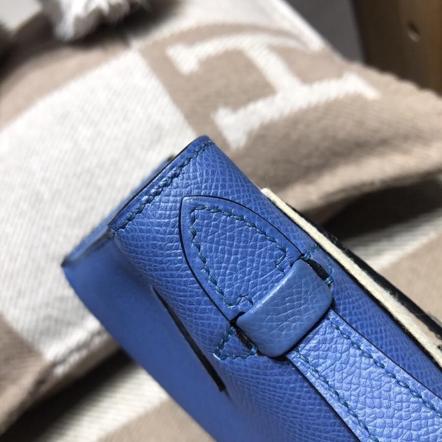 Hermes Mini kelly Epsom R2 瑪瑙藍 藍而不艷 藍中帶點灰調 氣質又好搭 銀扣