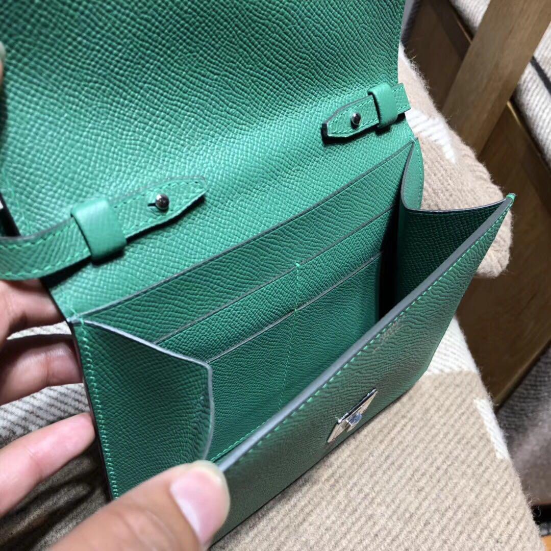 Hermes Clic Epsom 丝绒绿u4 vert vertigo 银扣