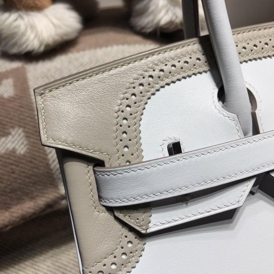 Hermes Brikin 30 Swift calfskin限量款ghillies 蕾丝系列 白色拼灰色