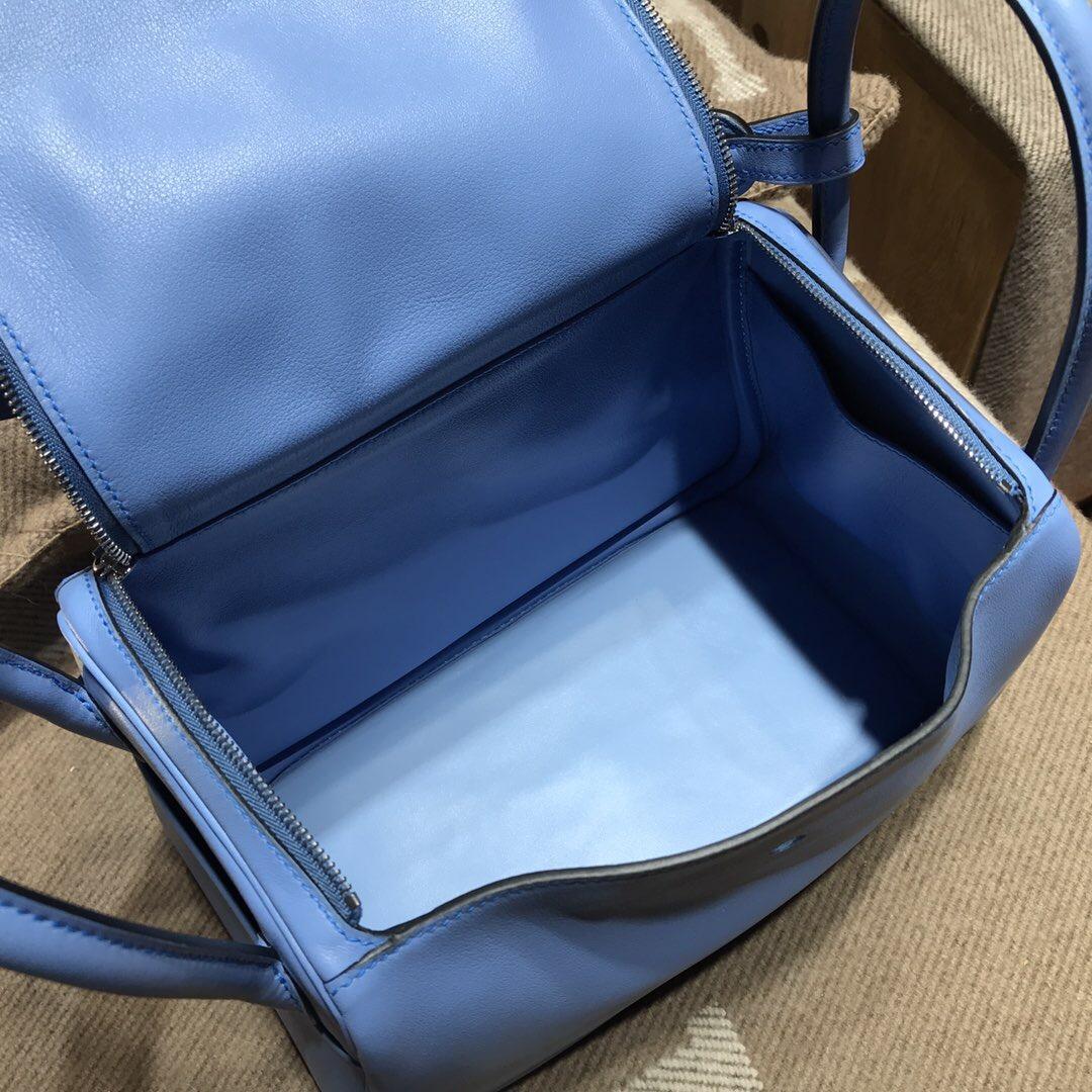 愛馬仕琳迪包Hermes Lindy bag 26 Swift calfskin 2T天堂蓝銀扣金屬