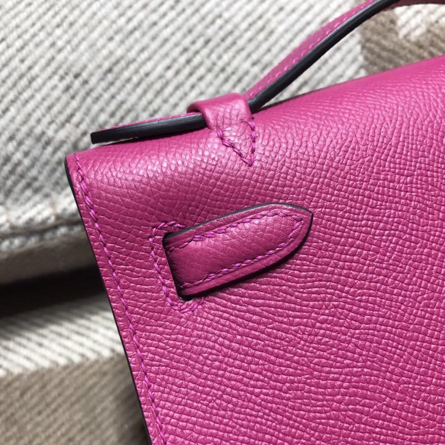 愛馬仕凱莉包 Hermes Mini kelly Epsom L3玫瑰紫 2018年最新顏色 銀扣