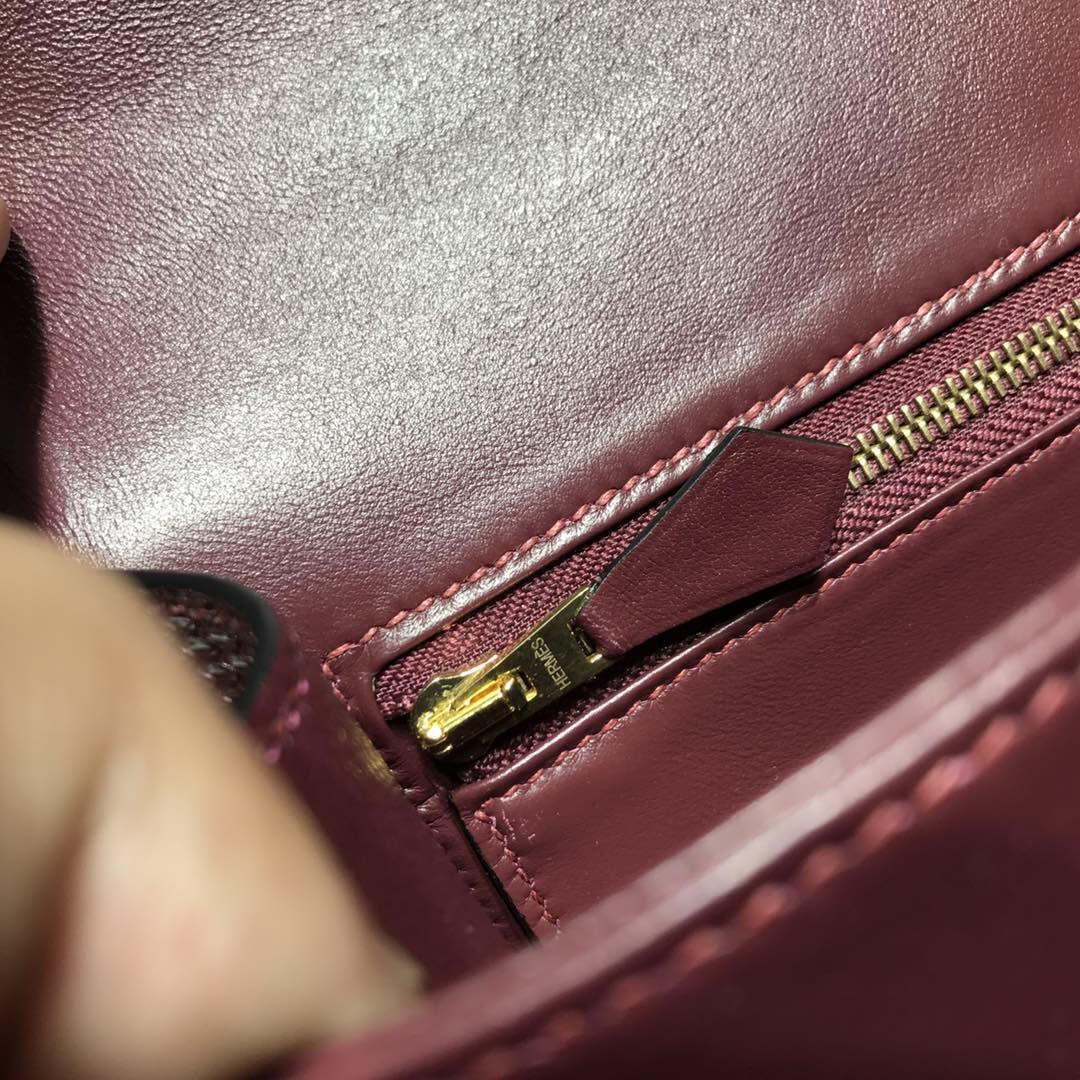 愛馬仕康斯坦斯包 Hermes Constance 蜥蜴皮CK57 Bordeaux波爾多酒紅 金扣