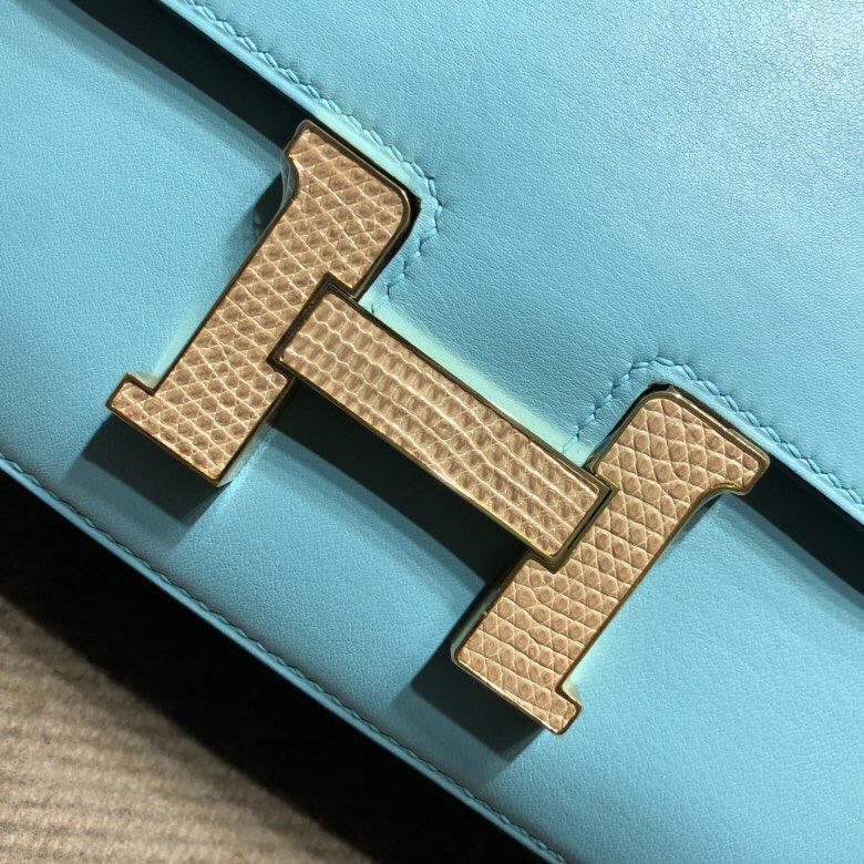 愛馬仕康斯坦斯包 Hermes Constance swift 18 3P馬卡龍藍蜥蜴扣