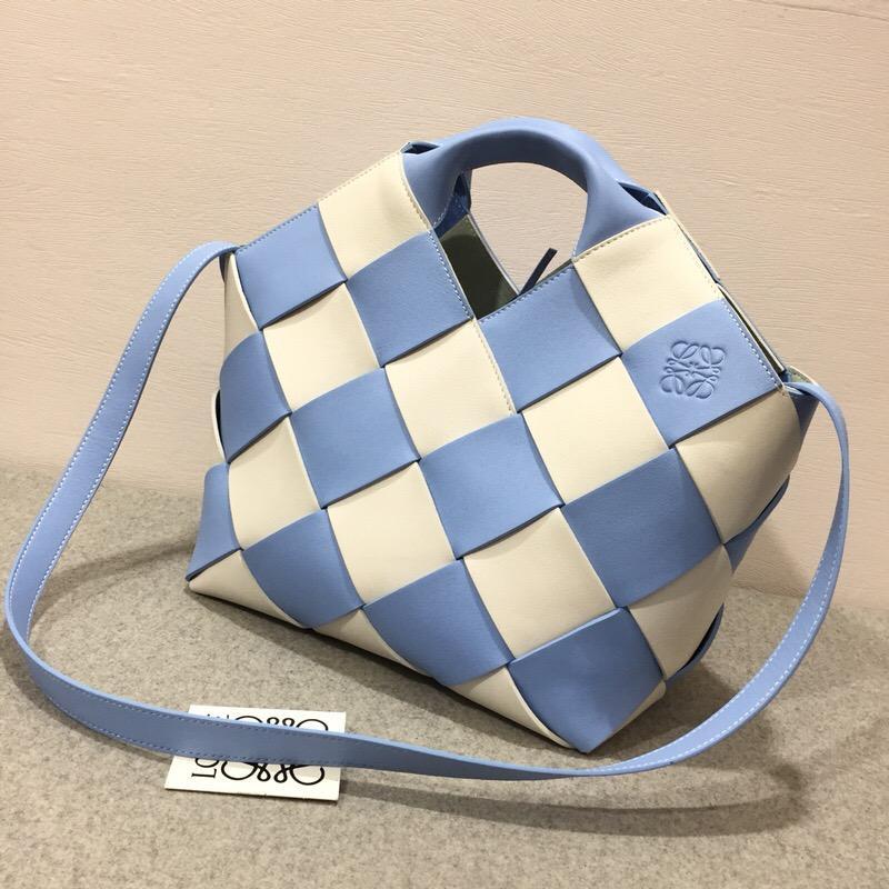 loewe Woven Basket Gingham Mini Bag Soft Blue/White