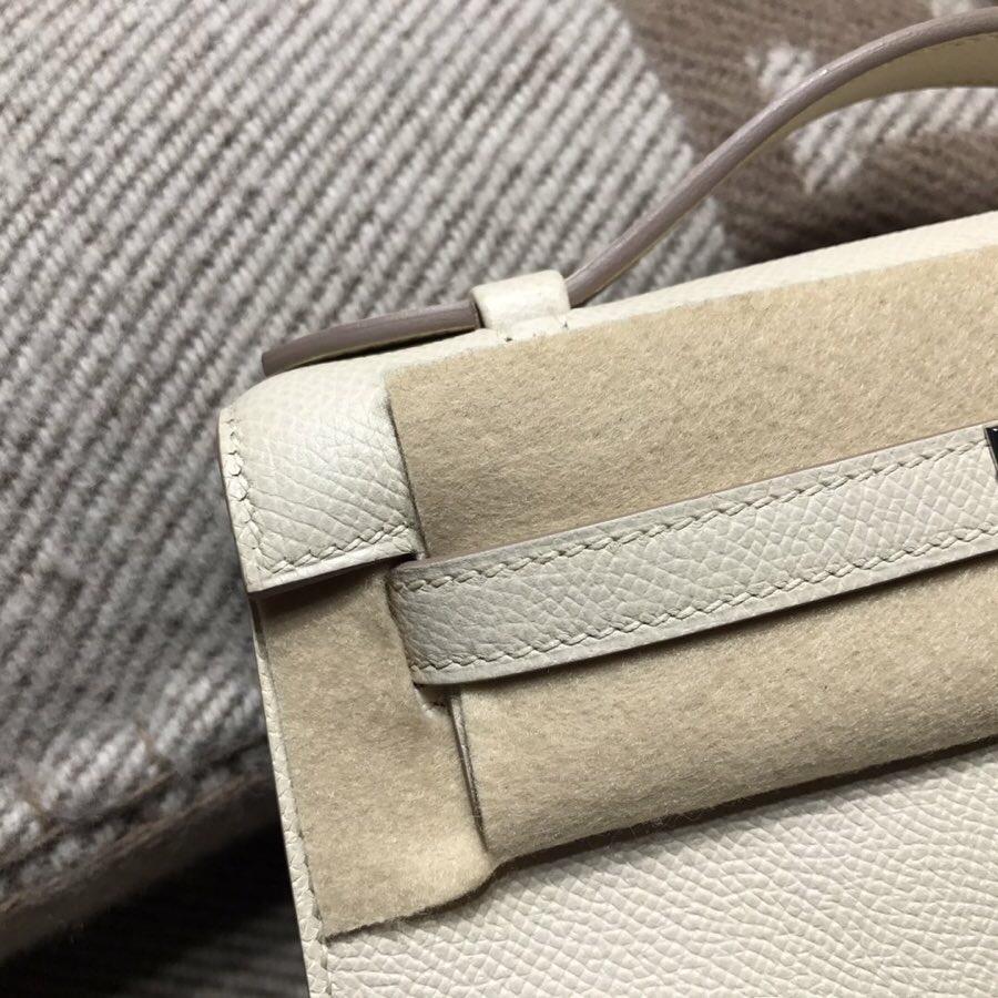 愛馬仕凱莉包 Hermes Mini kelly Epsom S2風衣灰超級氣質的百搭顏色 銀扣