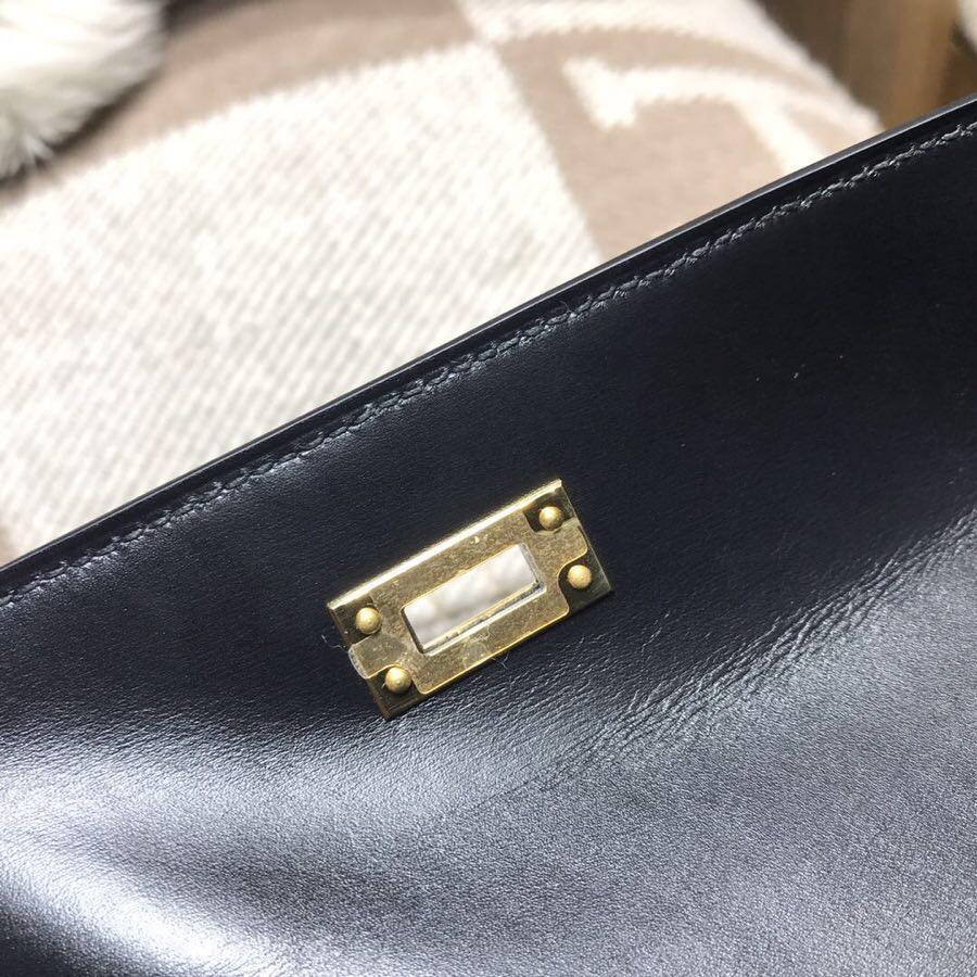 愛馬仕迷妳凱莉手包Hermes mini kelly box nior CC89黑色 金扣