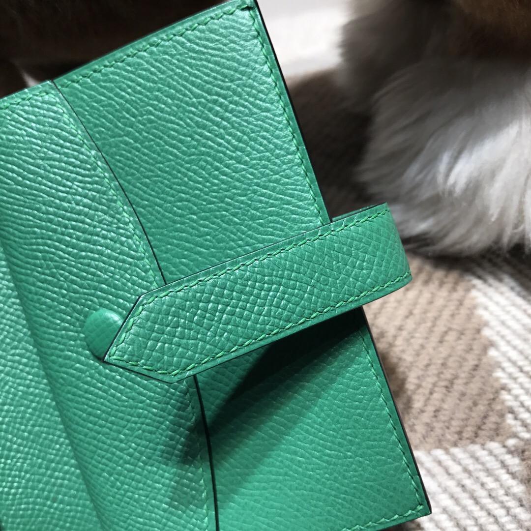 Hermes Epsom bearn 卡包 短款兩折男士錢包 u4 絲絨綠 vert vertigo