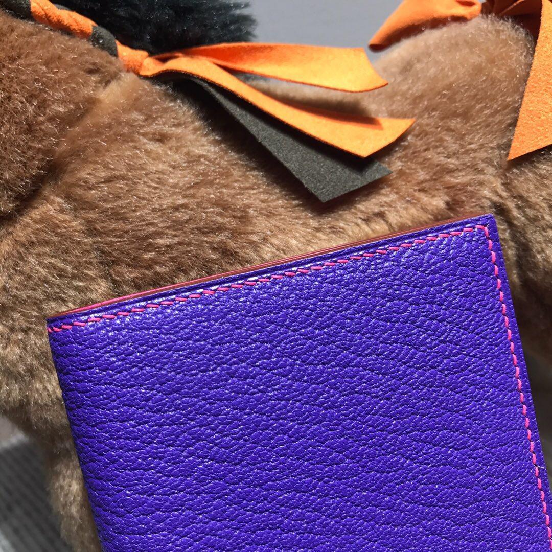 愛馬仕錢包 Hermes bearn 兩折錢夾 西服夾 山羊皮 9W夢幻紫+E5糖果粉 銀扣