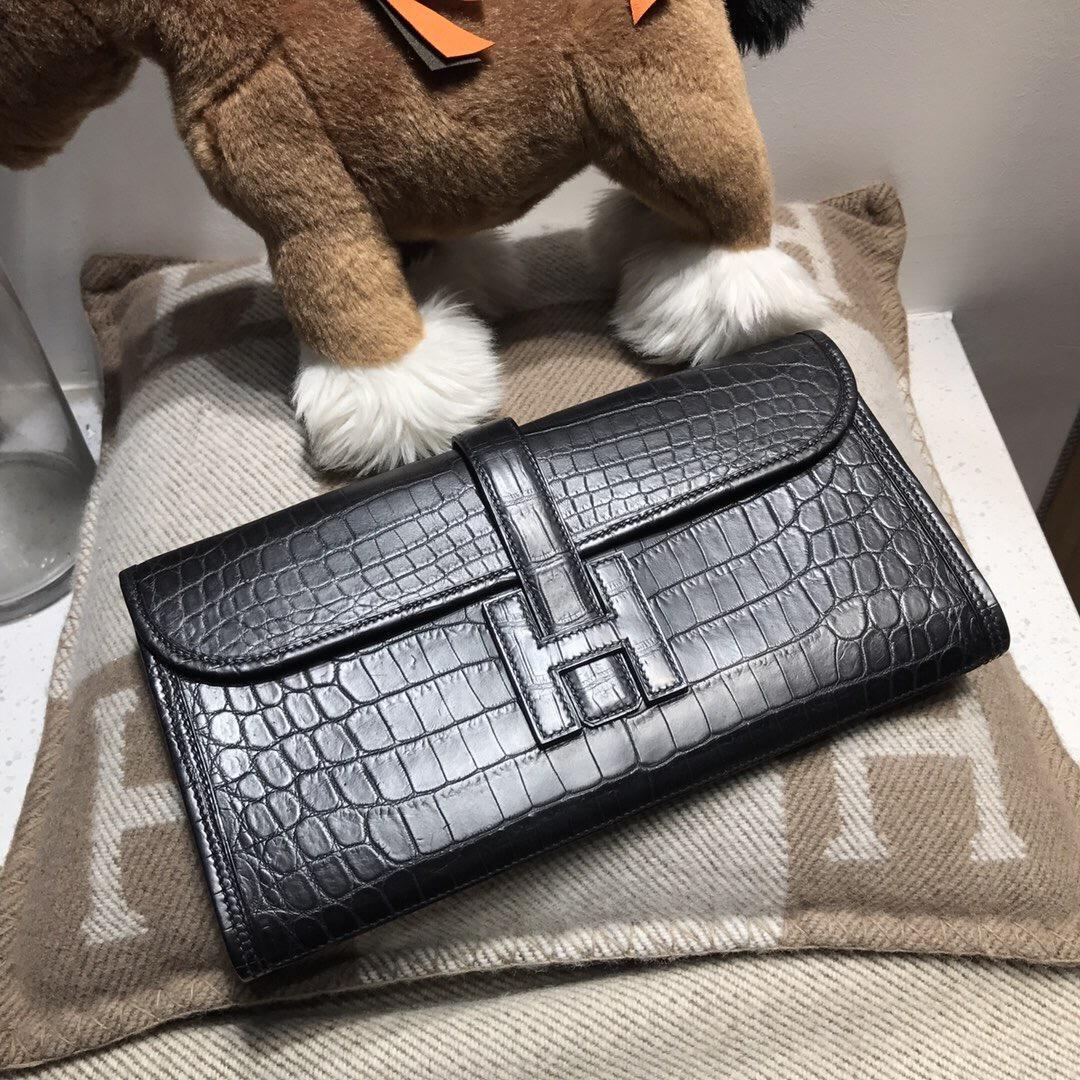 愛馬仕Hermes jige 鱷魚皮手包 霧面鱷魚皮皮革 黑色 nior ck89 宴會手包