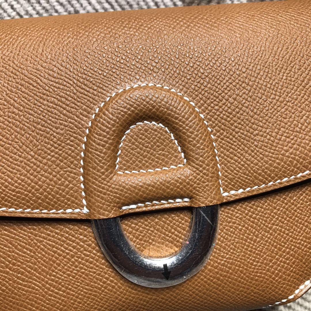 愛馬仕迷妳肩豬鼻子包 Hermes Cherche Mini小豬包 Epsom CK37金棕色金扣