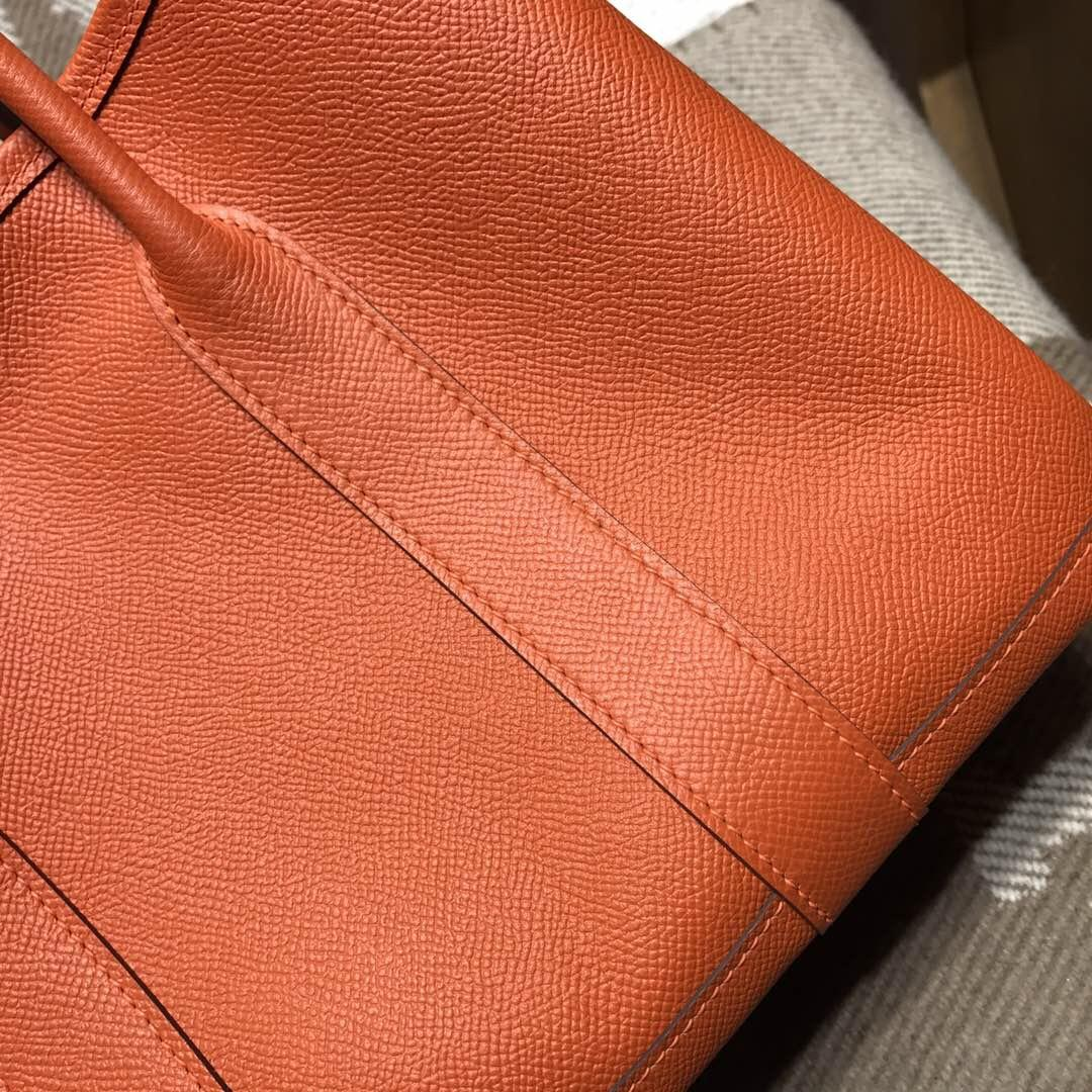 Hermes Garden Party bag 空中花園包 epsom 9J FEU火焰橙 30cm 銀扣